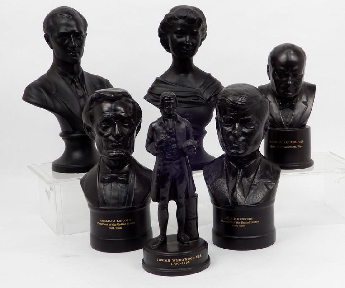 Five Wedgwood black basalt busts and one figurine
