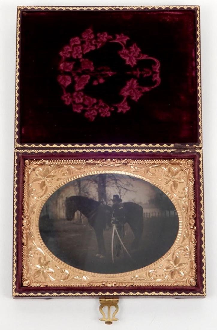 Civil War tintype Cavalry Officer and horse