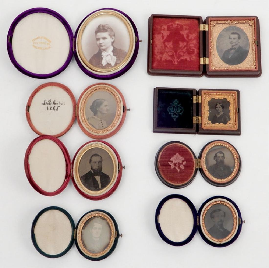 Grouping of daguerreotypes, ambrotypes, tintypes and an