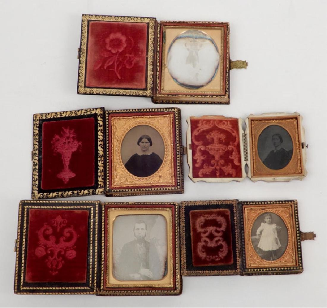 Five Daguerreotypes and ambrotypes in inlaid cases