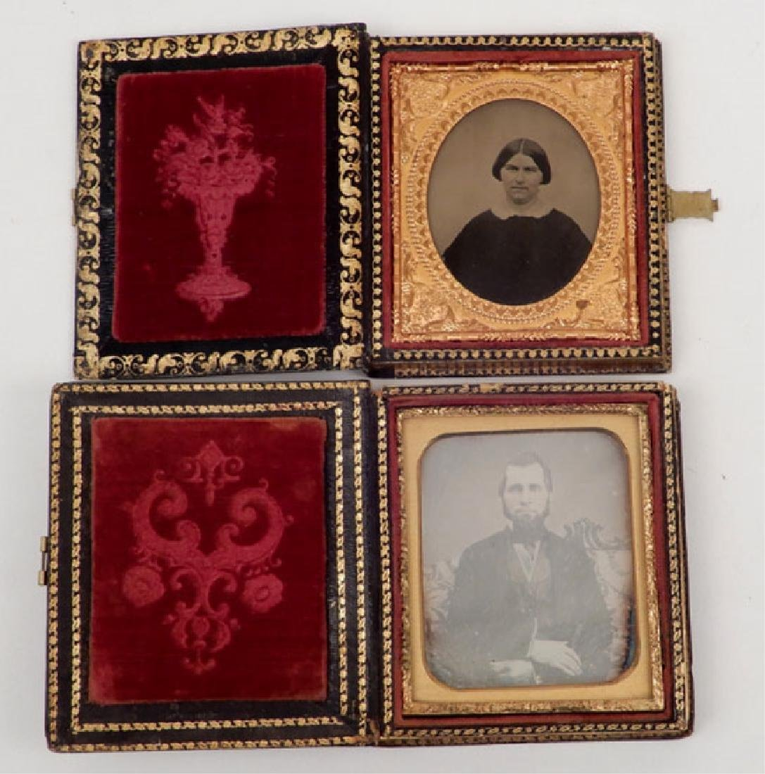 Five Daguerreotypes and ambrotypes in inlaid cases - 4