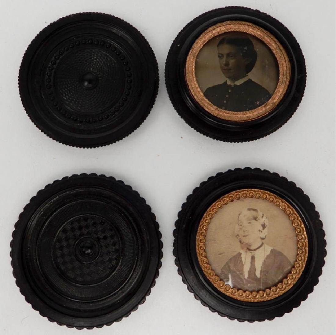 Four tintypes and ambrotype in oreo union cases - 4