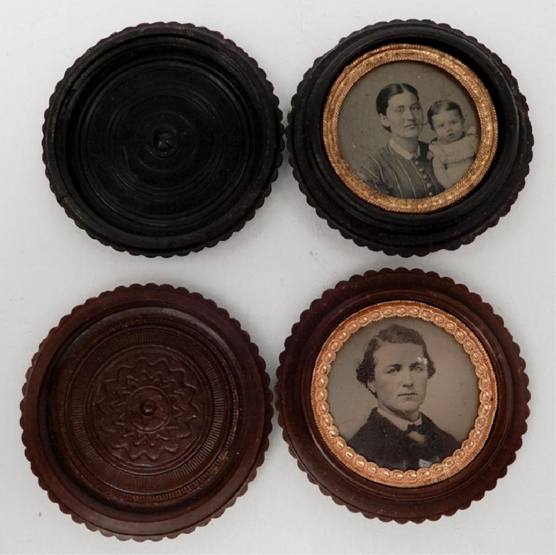 Four tintypes and ambrotype in oreo union cases - 6