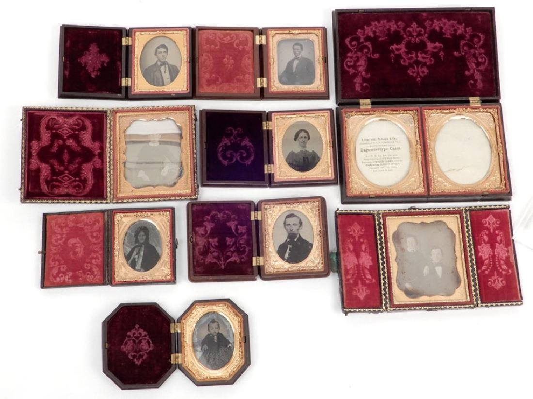 Eight Daguerreotypes and ambrotypes