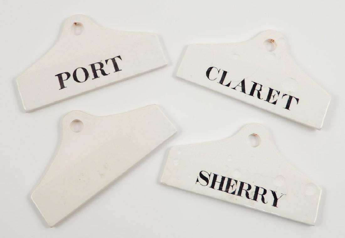 Four Wedgwood Farrow & Jackson creamware bin labels