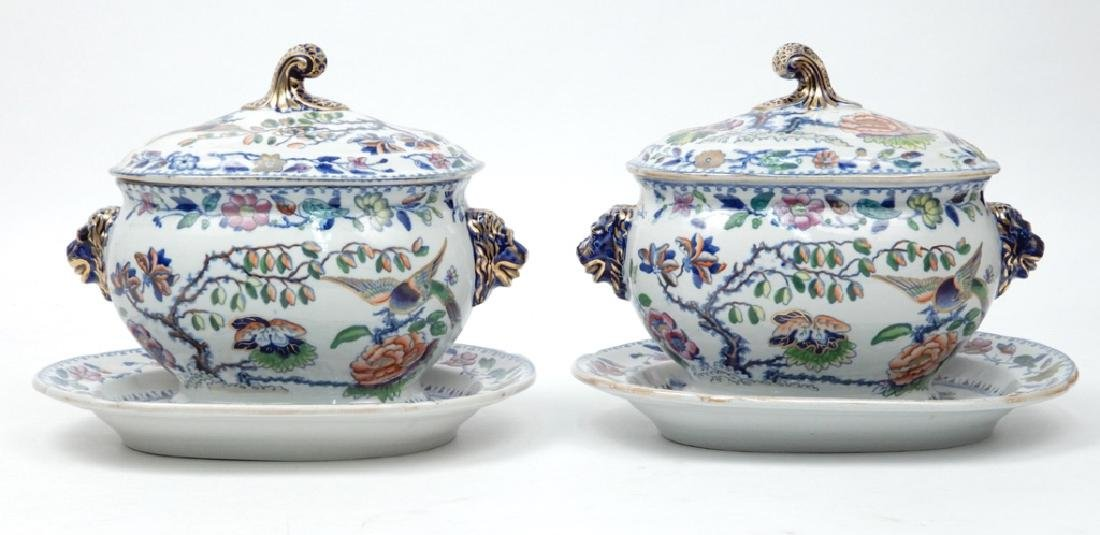 Pair of Hicks & Meigh sauce tureens and underplates