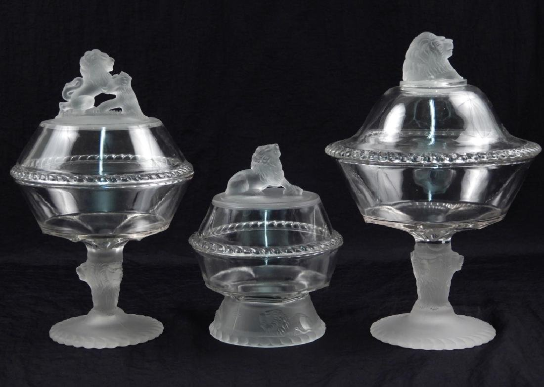Three early American pattern glass lion compotes