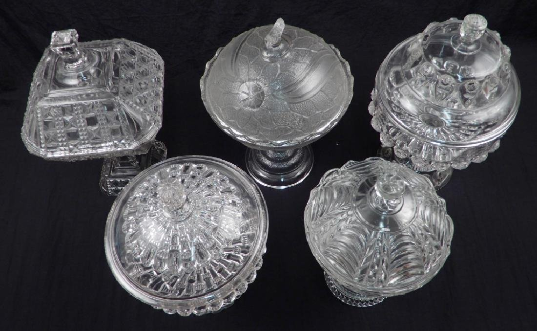 Five early American pattern glass covered compotes - 2