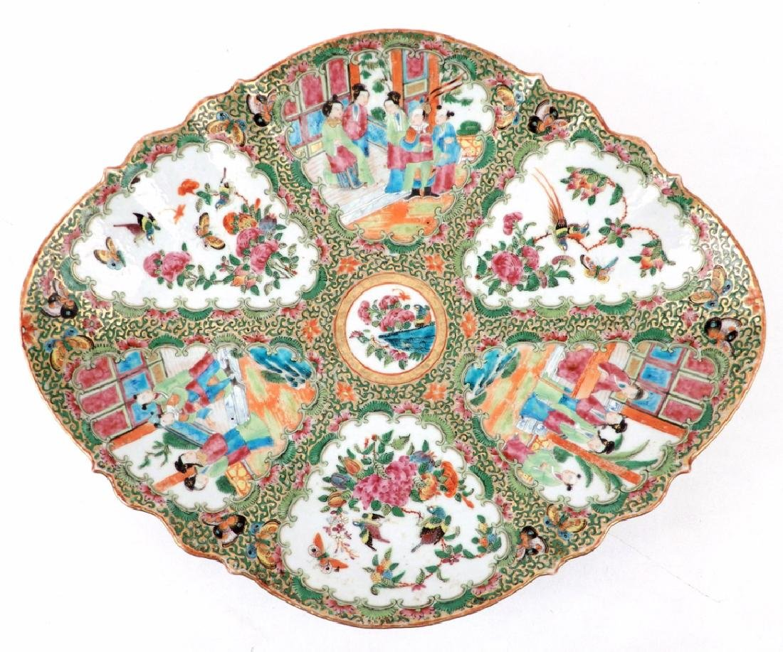 Chinese Rose Medallion porcelain plateau