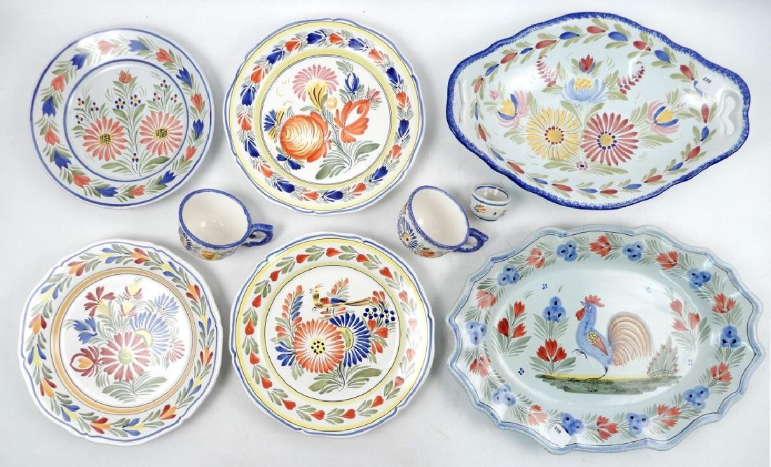 Collection of Quimper France pottery pieces