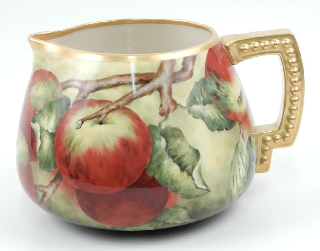 American Belleek hand painted porcelain cider pitcher