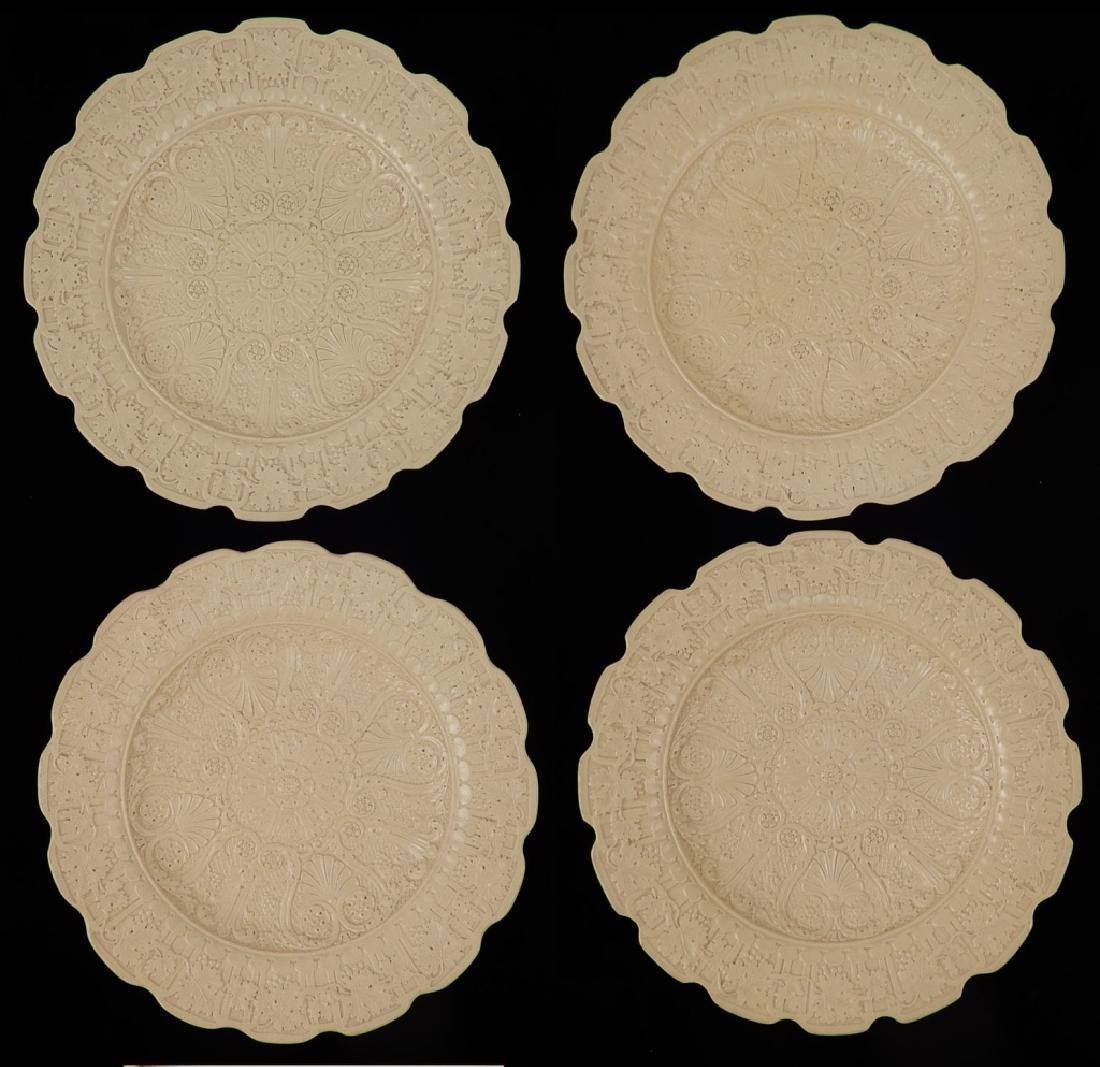 Set of four Neoclassical Ridgeway drabware plates