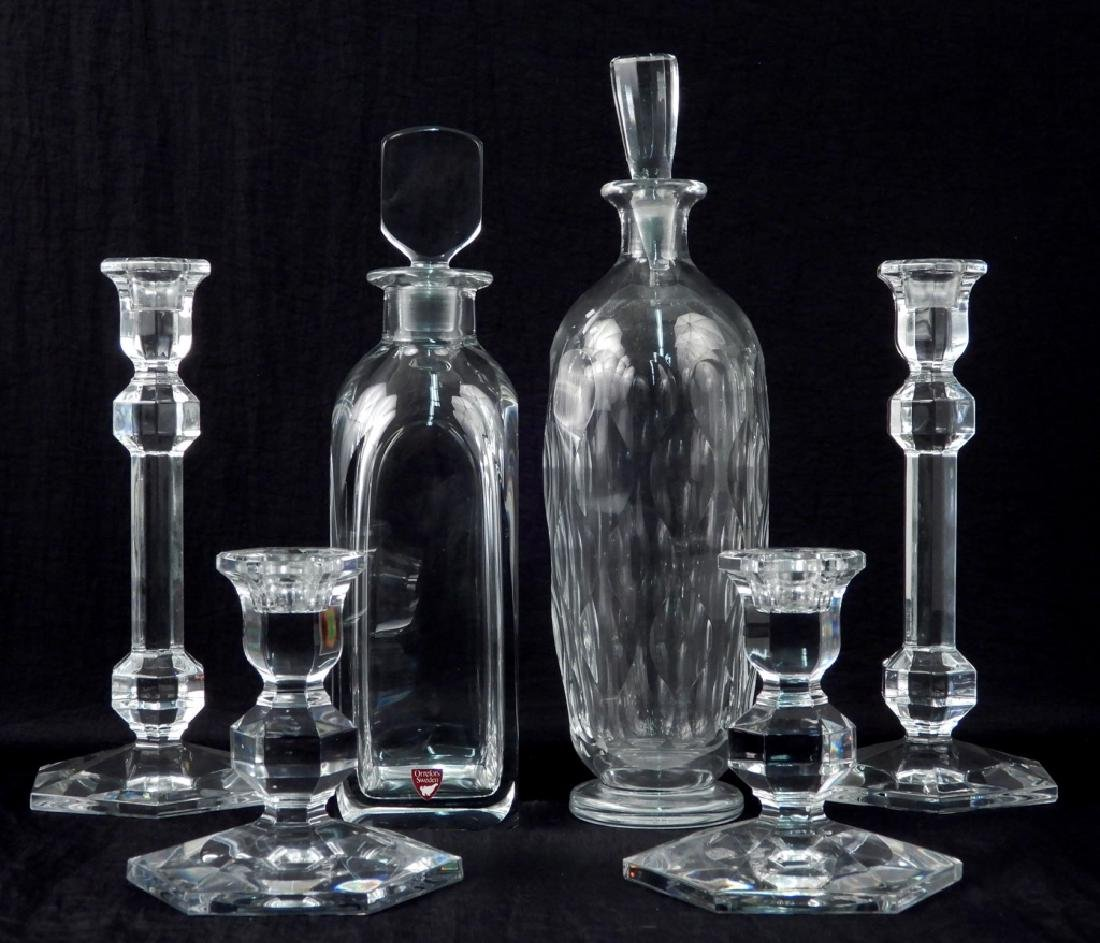 Val St. Lambert candlesticks and Orrefors decanters