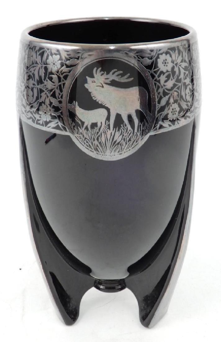 Art Deco black amethyst silver overlay footed vase