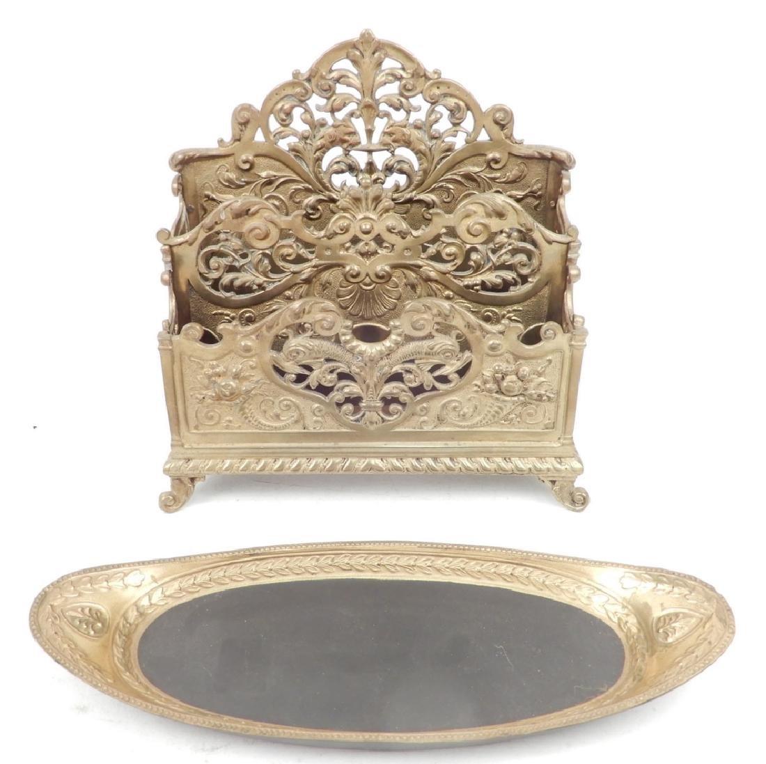 Victorian brass letter holder and Mottahedeh Design