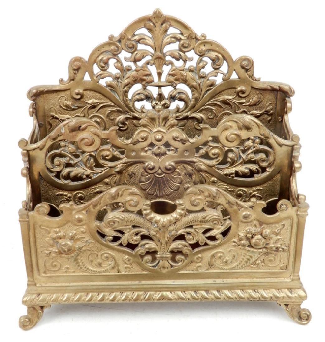 Victorian brass letter holder and Mottahedeh Design - 2