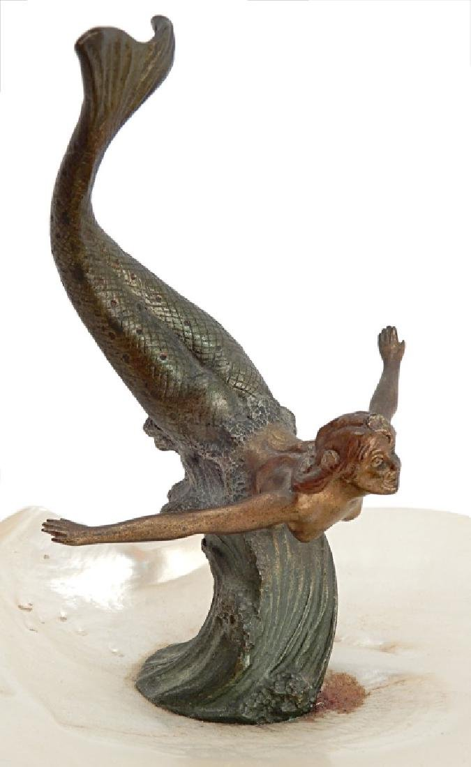 Austria cold painted bronze mermaid with shell - 2