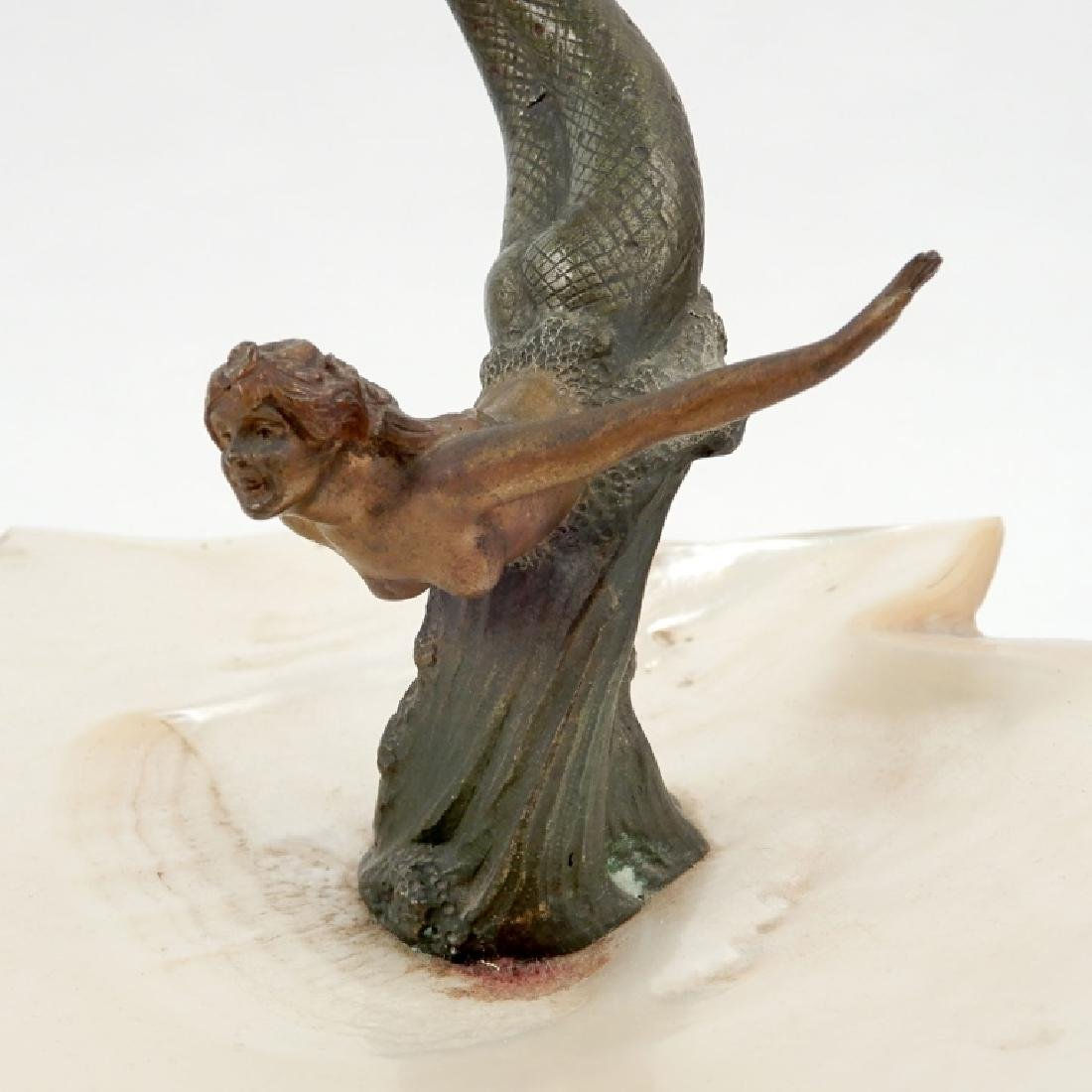 Austria cold painted bronze mermaid with shell - 4