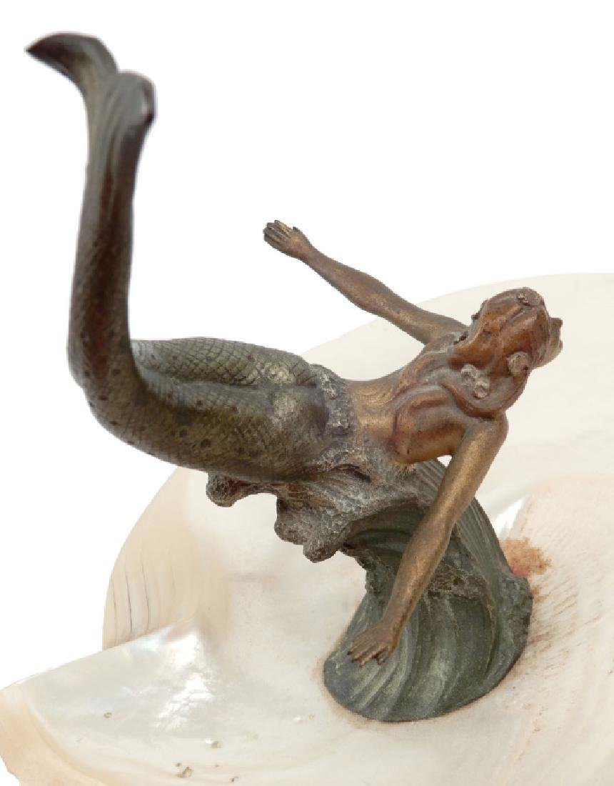 Austria cold painted bronze mermaid with shell - 6