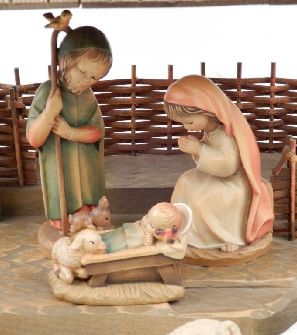 Anri wood carved Nativity Set with Stable - 2