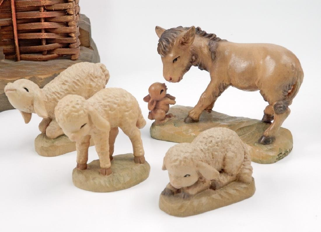 Anri wood carved Nativity Set with Stable - 4