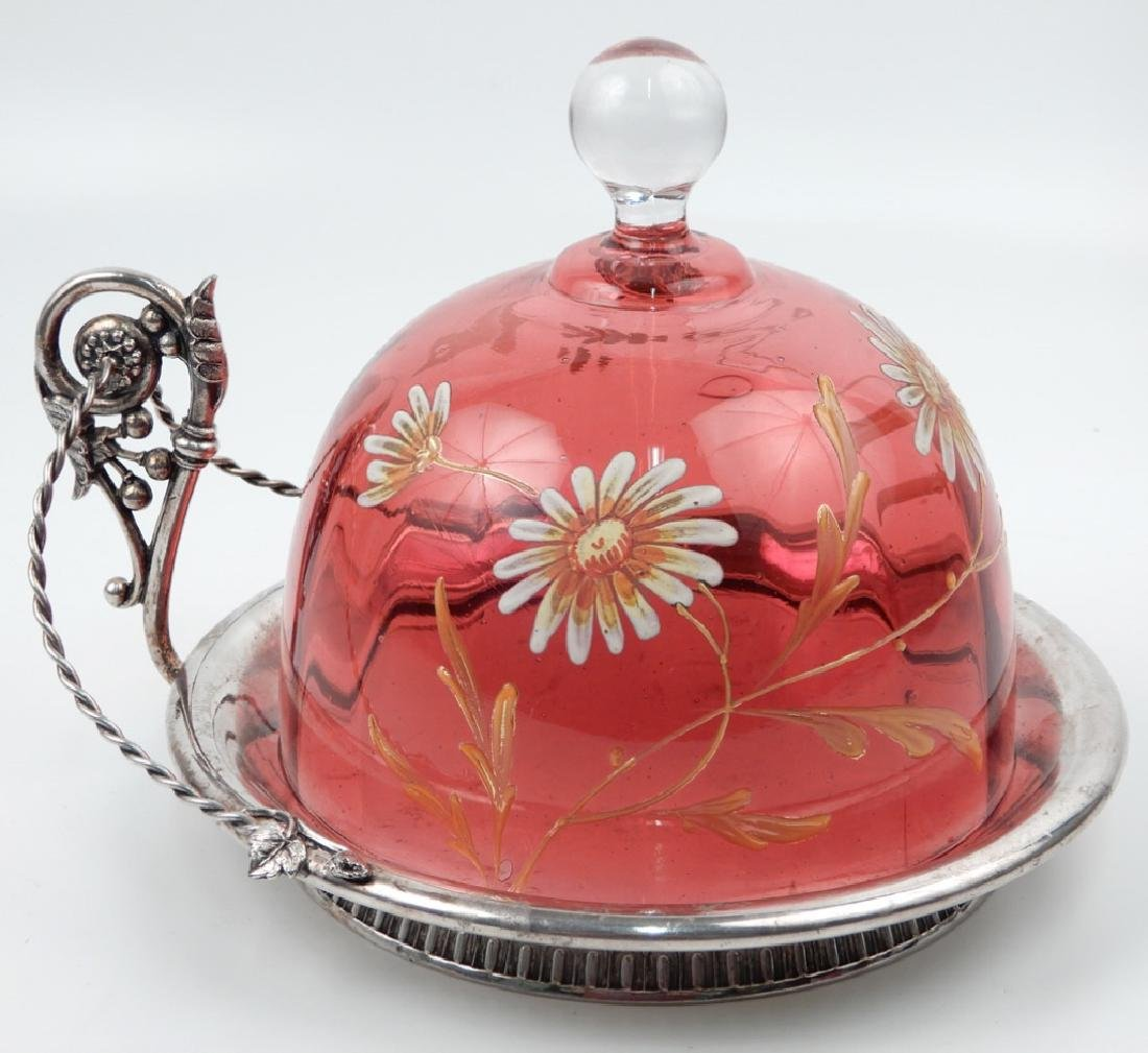 Monarch Silver Co. butter dish with enameled cranberry
