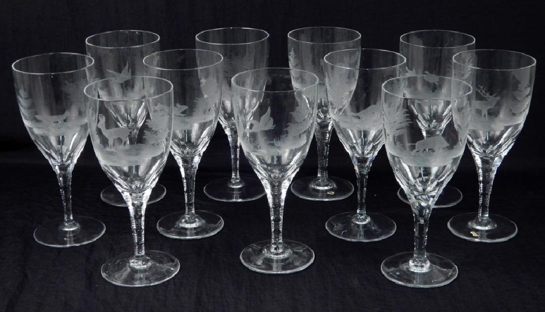 Set of eleven Bohemian etched glass goblets