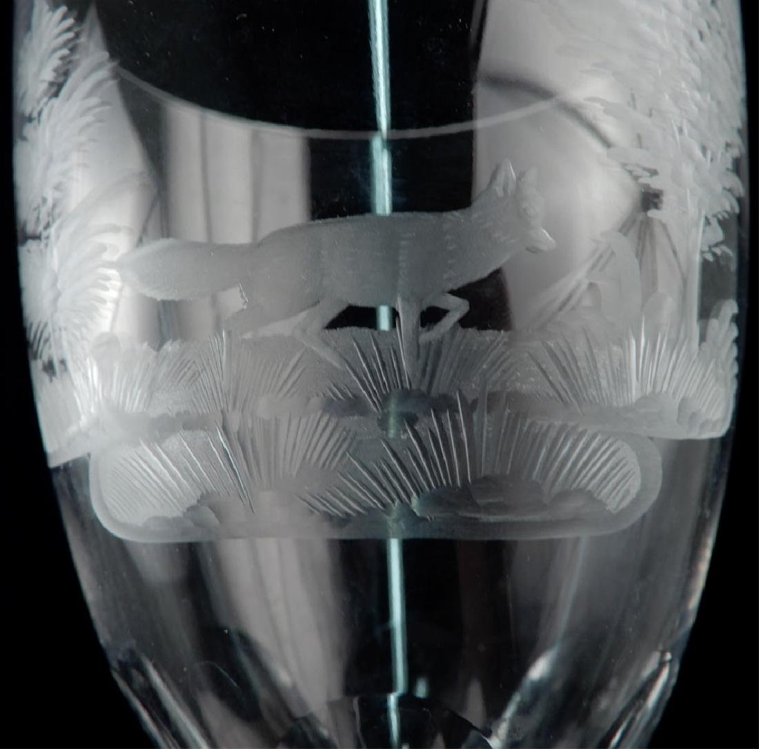 Set of eleven Bohemian etched glass goblets - 3