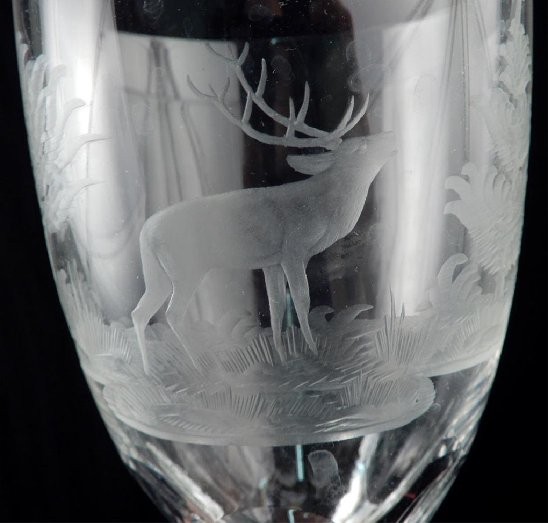 Set of eleven Bohemian etched glass goblets - 4