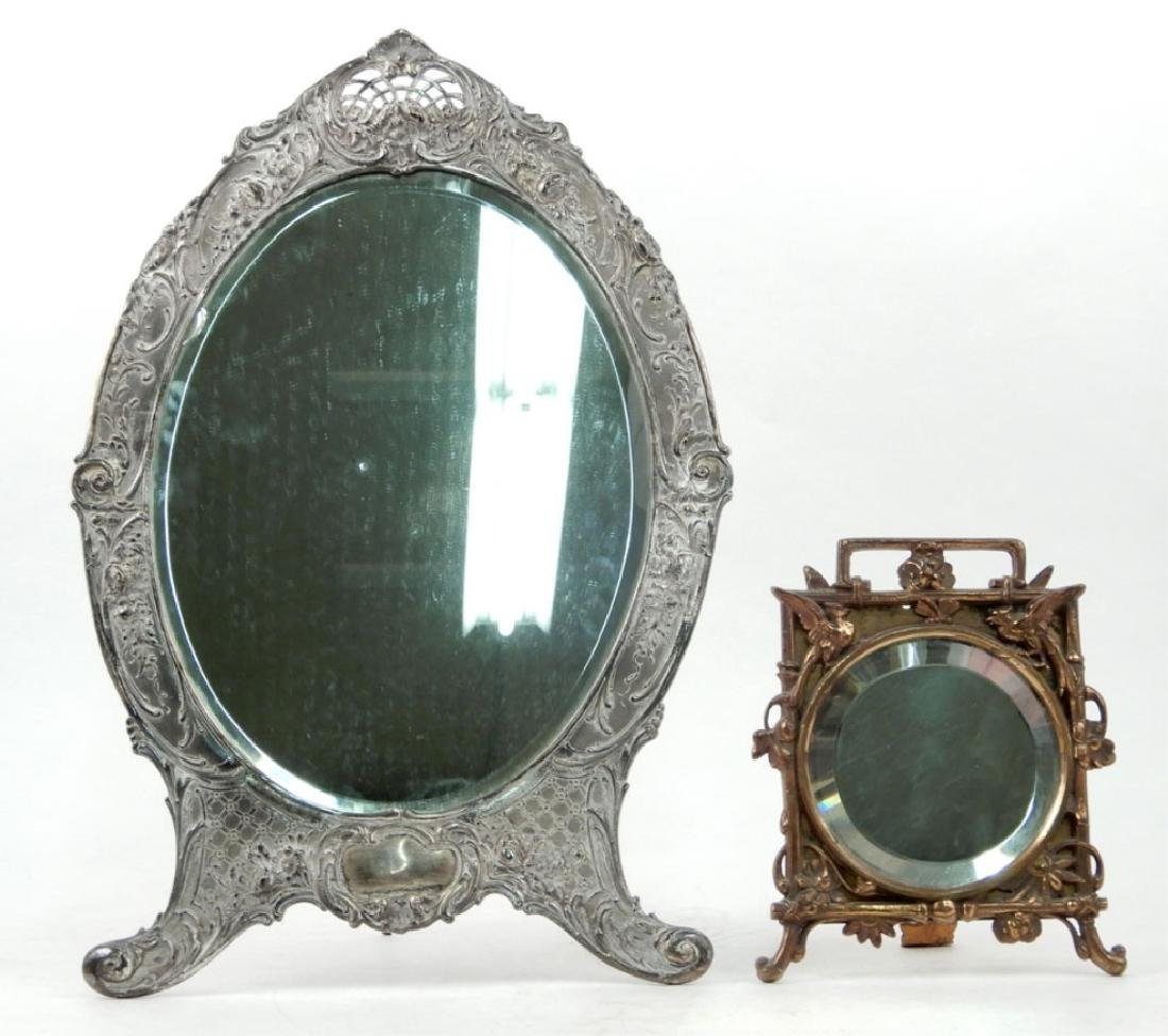 Two easel back framed mirrors