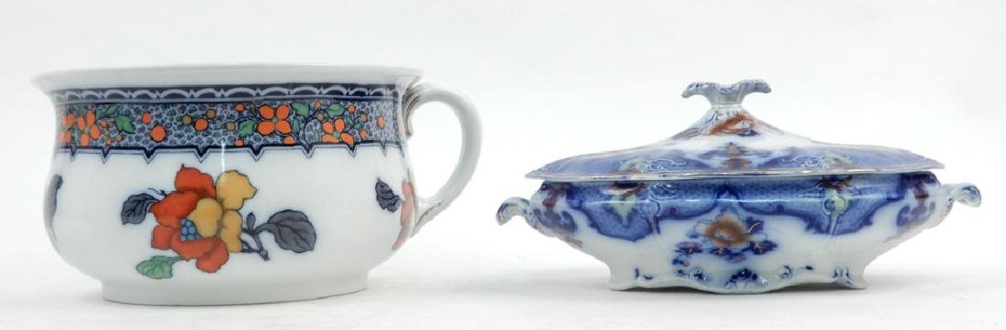 Keeling & Co. chamber pot and Ridgways flow blue