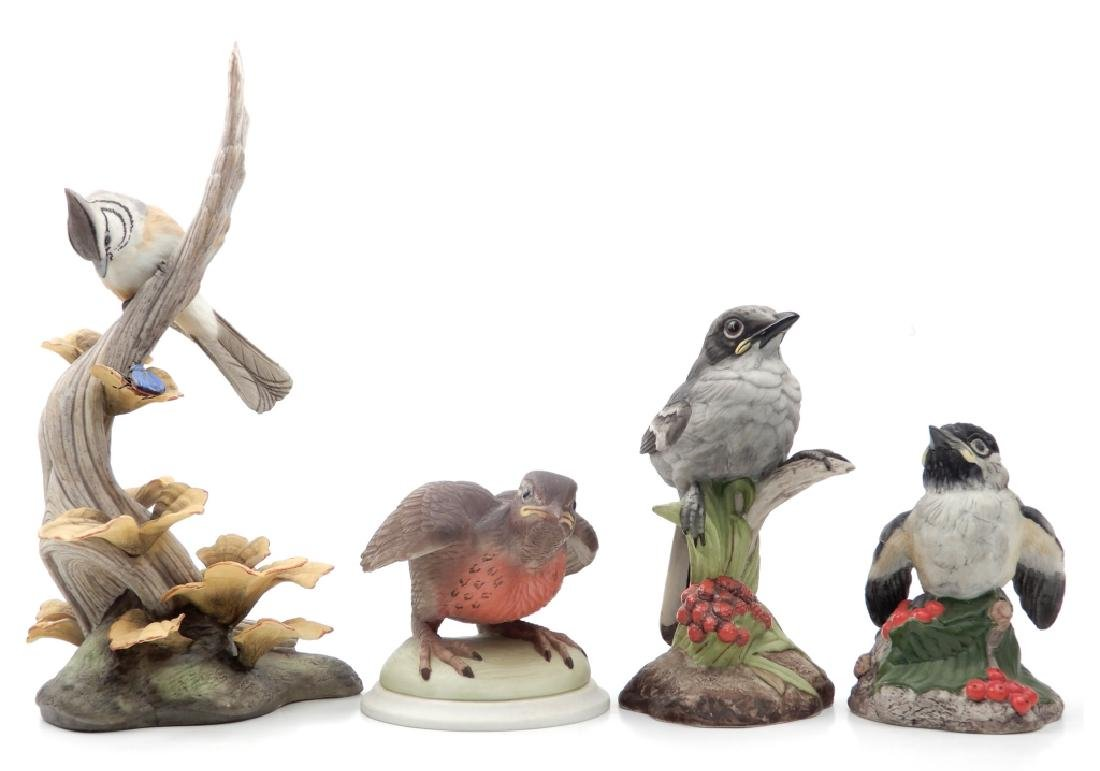 Four Boehm porcelain birds