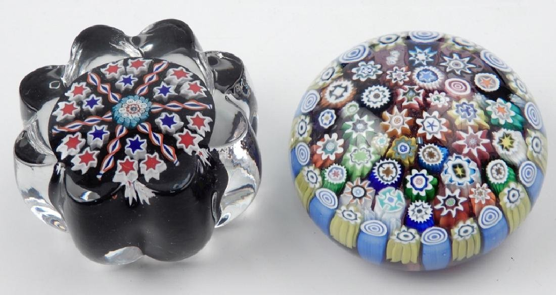 Two Peter McDougall art glass paperweights