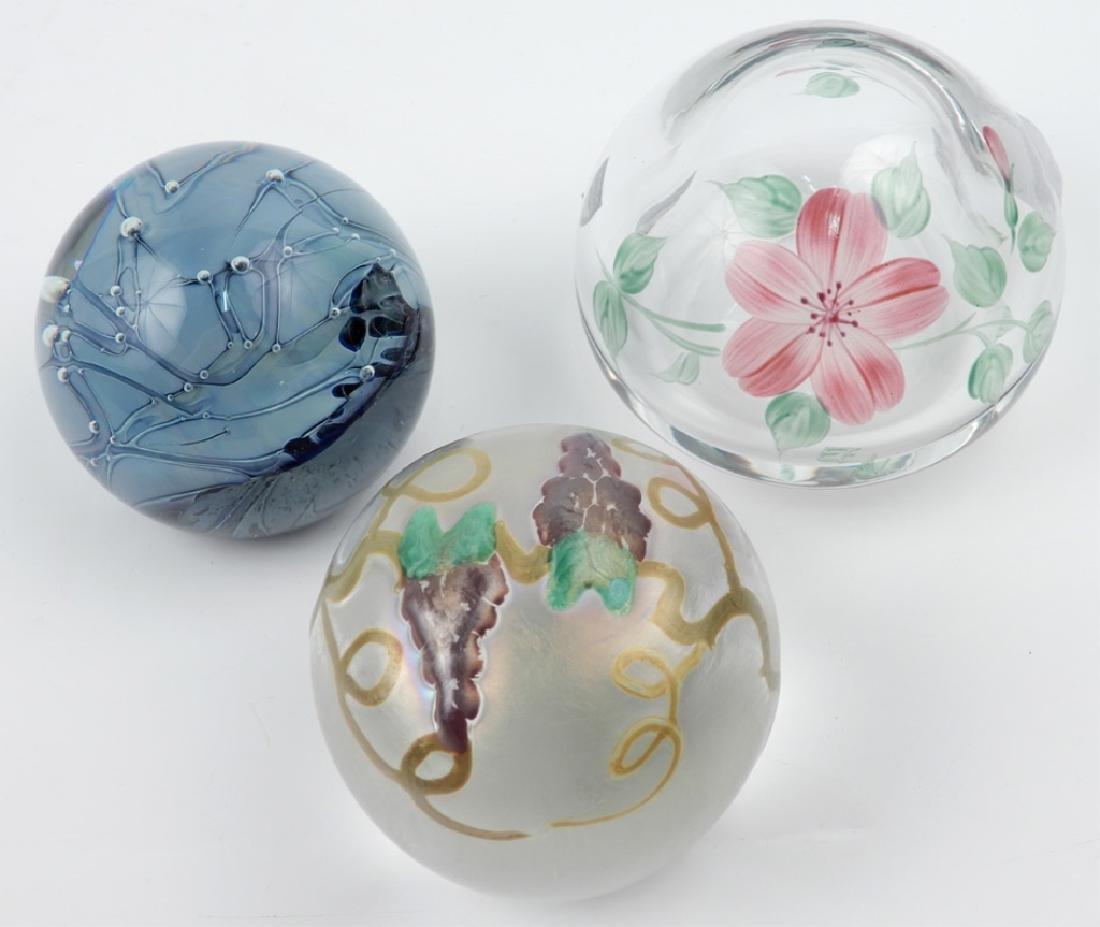 Three art glass paperweights