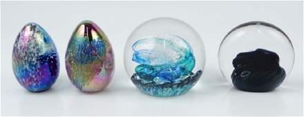 Four art glass paperweights