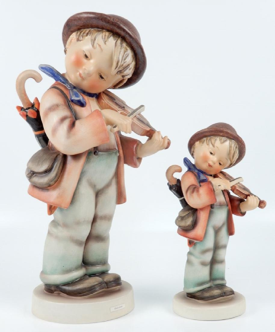 Two Hummel Little Fiddler figurines