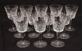Twelve Waterford crystal Lismore claret wines