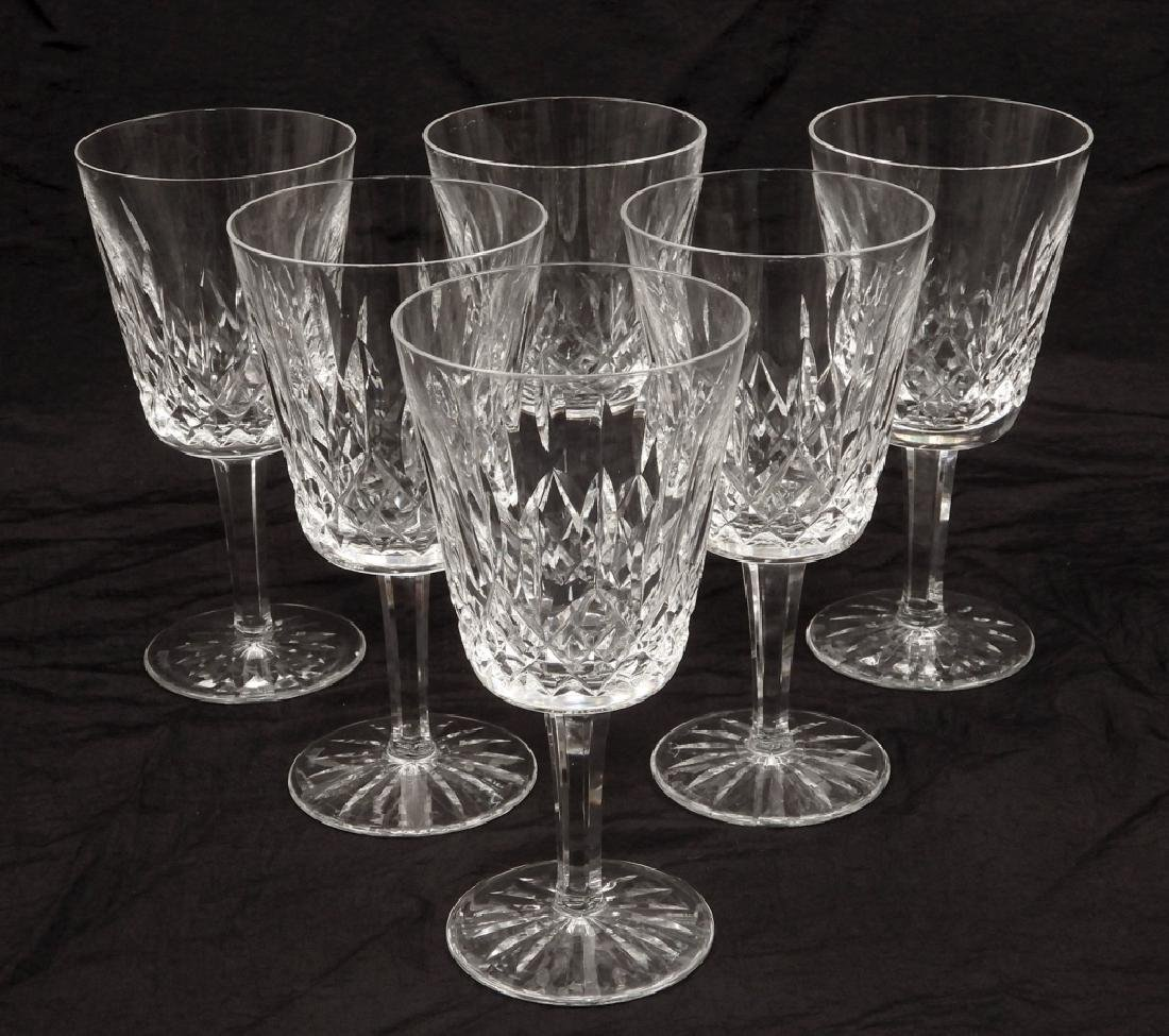 Six Waterford crystal Lismore water goblets