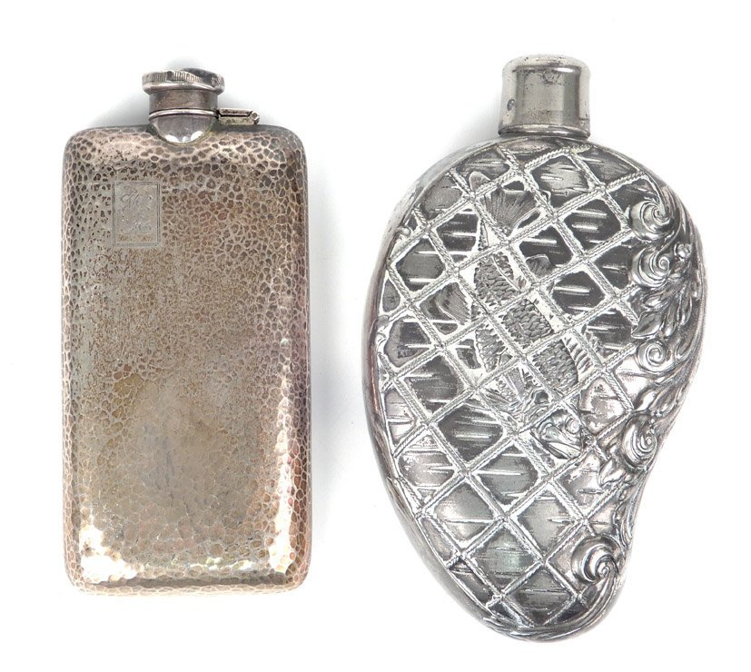 Sterling silver flask and a silver plated flask