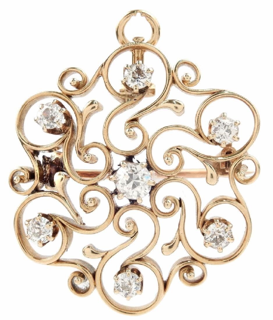 Victorian 14k gold and diamond starburst pendant brooch