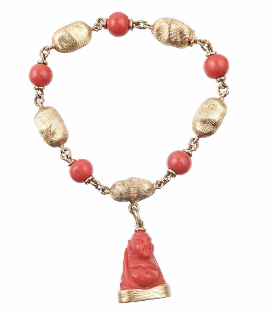 18k gold coral Buddha bracelet