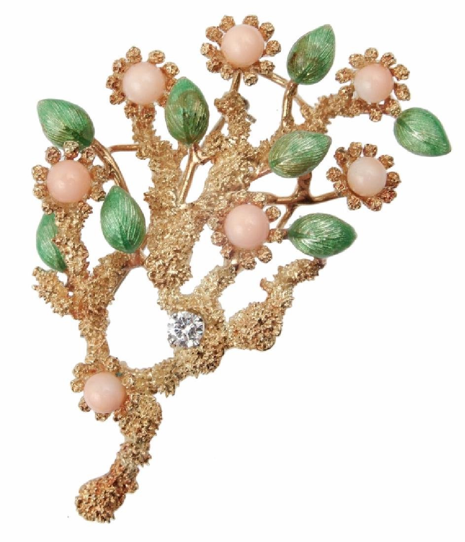 18k gold enameled coral and diamond brooch