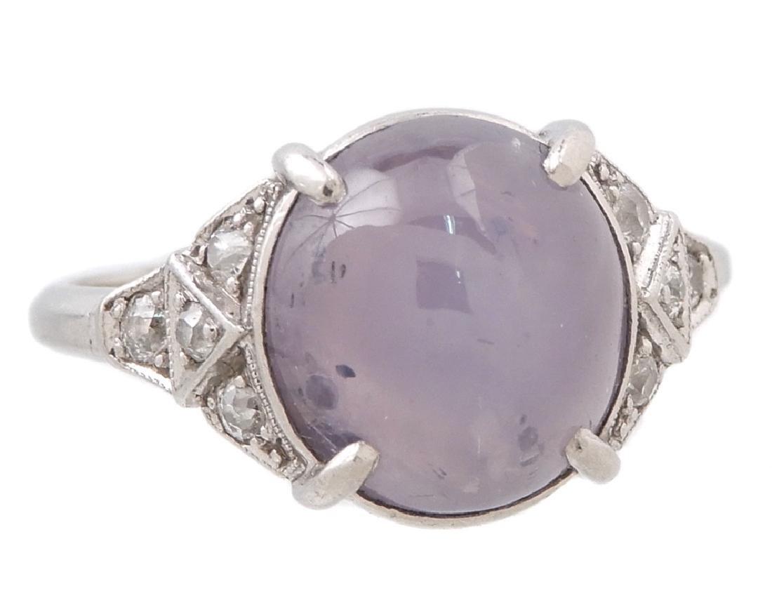 Art Deco platinum lavender star sapphire and diamond