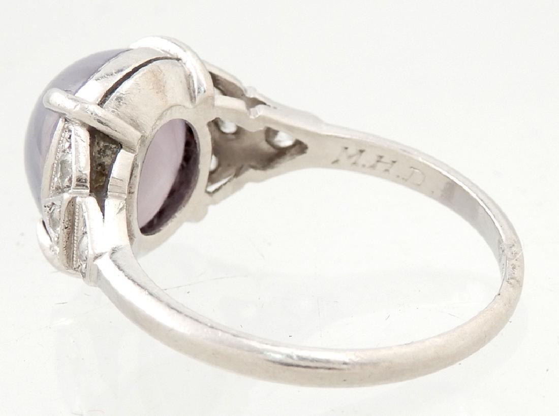 Art Deco platinum lavender star sapphire and diamond - 3