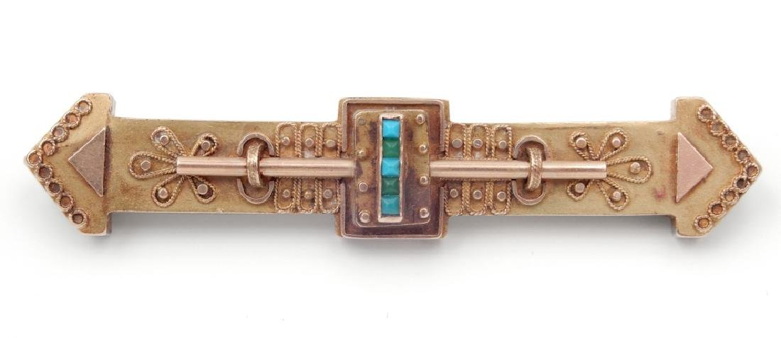 Victorian Etruscan style 14k gold and turquoise bar pin