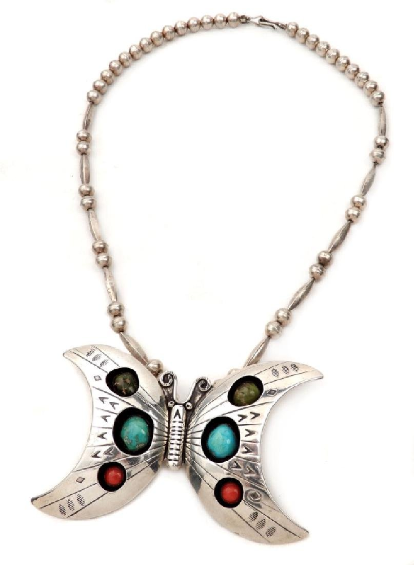 Native American Indian butterfly necklace