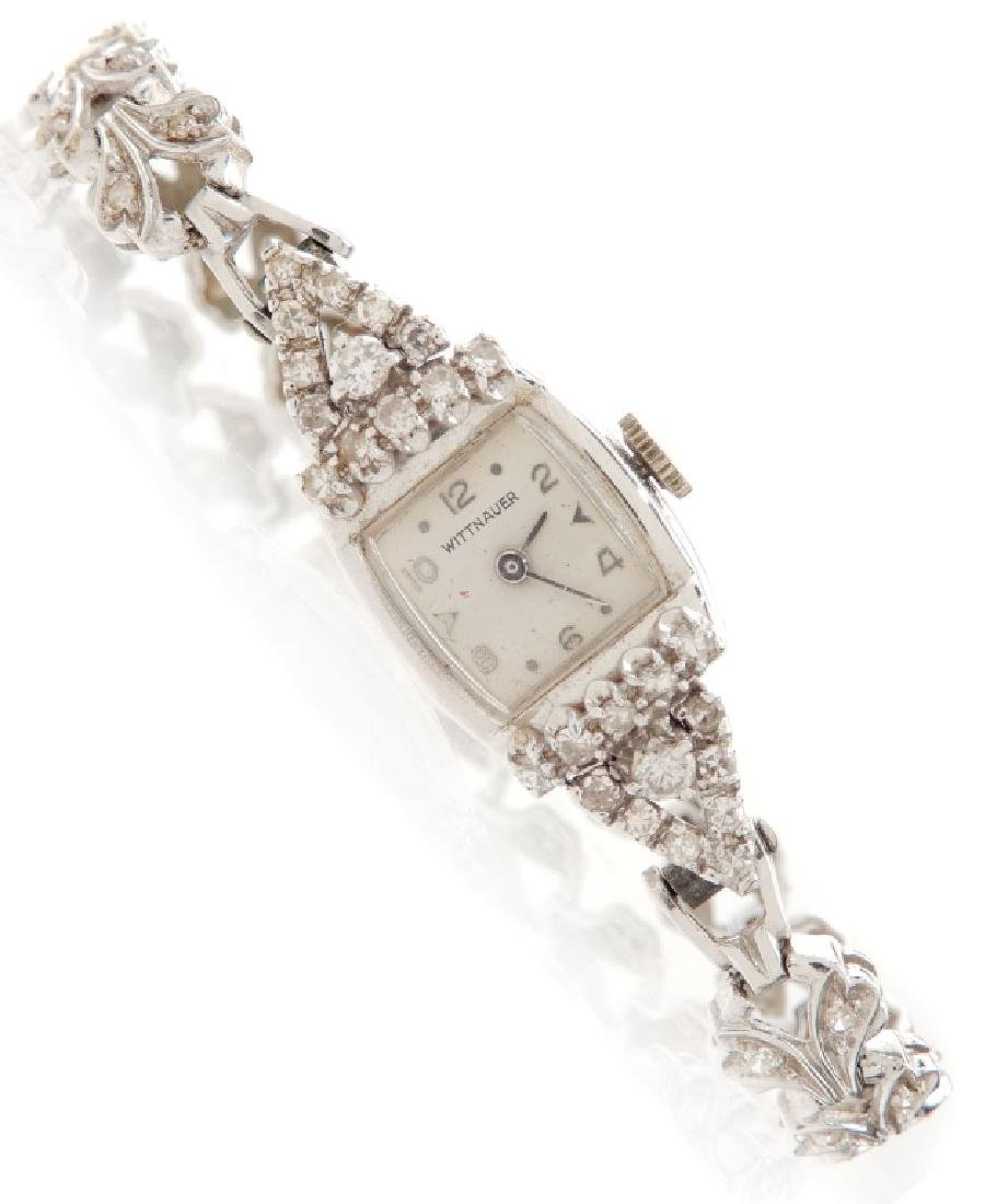 Lady's Wittnauer 14k white gold and diamond wristwatch