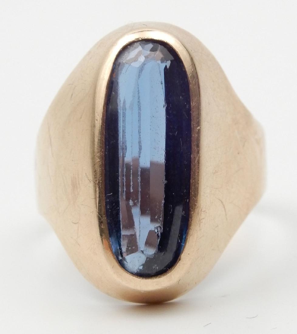 18k gold London blue topaz ring