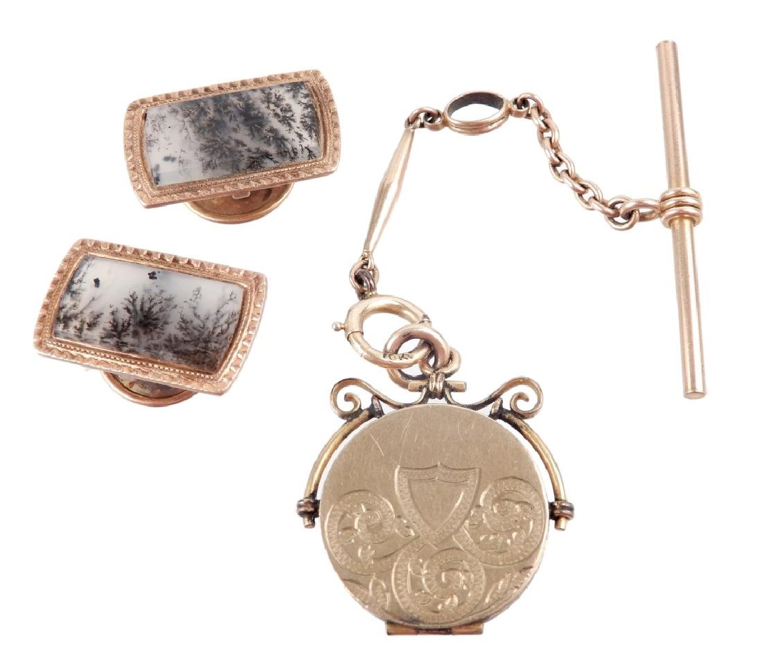Gold Victorian cufflinks and watch fob