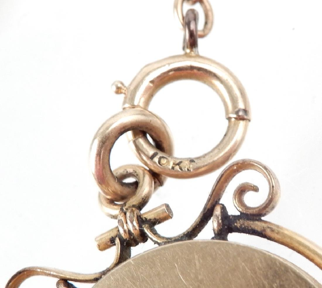 Gold Victorian cufflinks and watch fob - 2